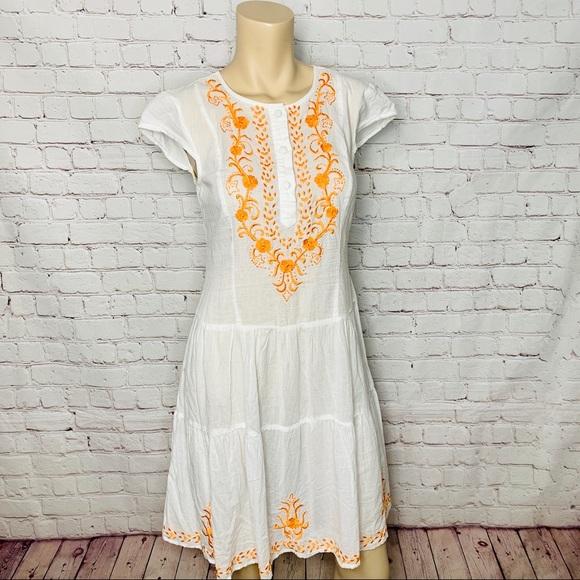 eshakti Dresses & Skirts - ESHAKTI White Boho Dress Floral Embroidery NWOT!